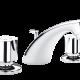 Un mitigeur trois trous de lavabo pour la salle de bain chromé