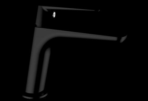 Un mitigeur monotrou de lavabo noir mat