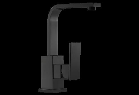 Un mitigeur monotrou de lavabo avec un bec L noir mat