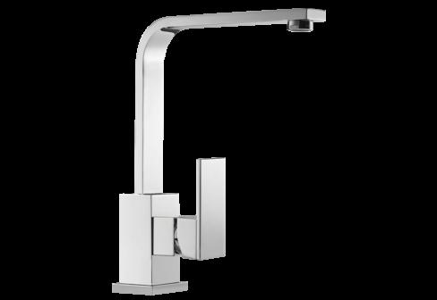 Un mitigeur monotrou de lavabo avec un bec L chromé