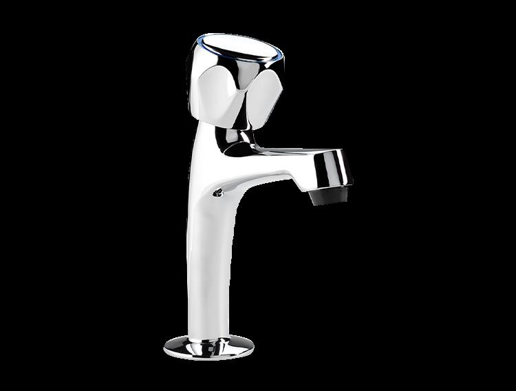 Un robinet simple haut de lavabo chromé