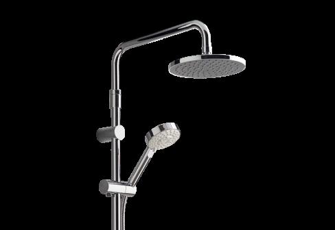 Colonne thermostatique de douche avec douche de tête et douchette à main chromé pour la salle de bain