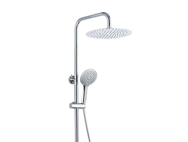 Une colonne de douche avec douchette de tête inox, douchette à main ABS 3 jets et mitigeur mécanique chromé