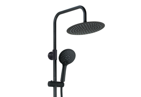 Une colonne de douche avec douchette de tête inox, douchette à main ABS 3 jets et mitigeur mécanique noir mat, zoom sur la tête et la douchette