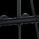 Une colonne de douche avec douchette de tête inox, douchette à main ABS 3 jets et mitigeur mécanique noir mat, zoom sur le mitigeur