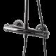 Une colonne de douche avec douchette de tête inox, douchette à main ABS 3 jets et mitigeur mécanique chromé, zoom sur le mitigeur