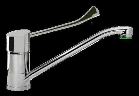 Un mitigeur monotrou évier avec manette coudée chromé