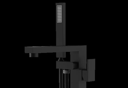 Un mitigeur mécanique sur pied pour baignoire sur pied noir mat