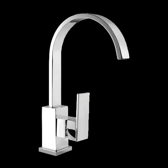 Un mitigeur monotrou de lavabo avec un bec rond chromé