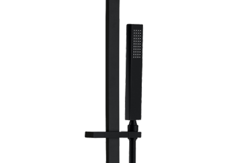 Combiné de rampe noir mat avec douchette PVC