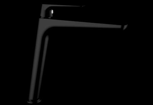 Un mitigeur monotrou de lavabo haut noir mat