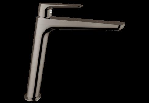 Un mitigeur monotrou de lavabo haut nickel satiné