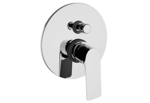 Un mitigeur bain/douche encastré 2 voies chromé