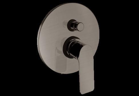 Un mitigeur bain/douche encastré 2 voies nickel satiné