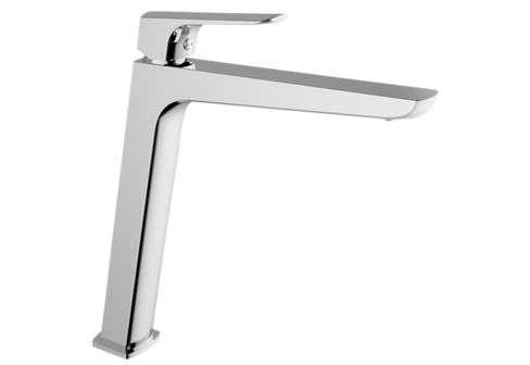 Un mitigeur monotrou de lavabo haut chromé
