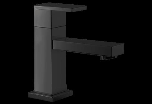 Un robinet lave-mains noir mat