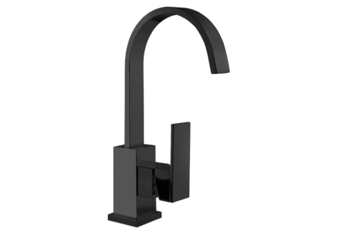 Un mitigeur monotrou de lavabo avec bec rond noir mat