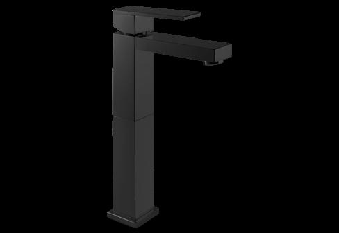 Un mitigeur monotrou de lavabo réhaussé noir mat