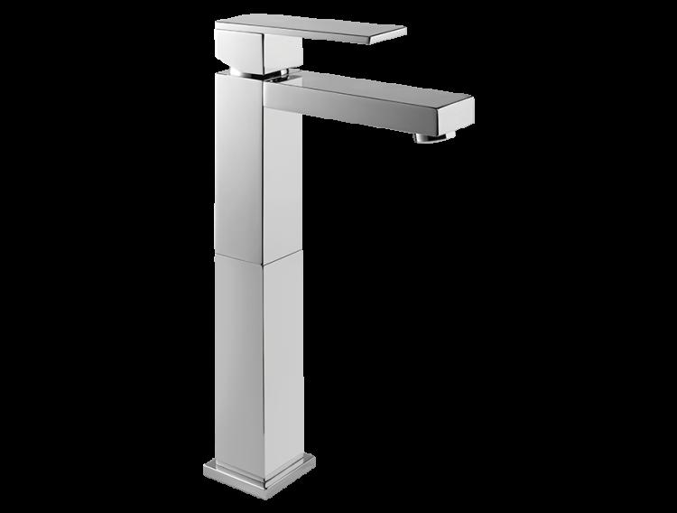 Un mitigeur monotrou de lavabo réhaussé chromé