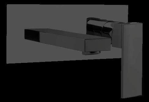 Un mitigeur lavabo encastré avec plaque noir mat