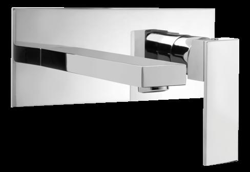 Un mitigeur lavabo encastré avec plaque chromé