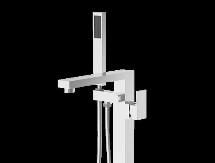 Un mitigeur mécanique sur pied pour baignoire sur pied chromé