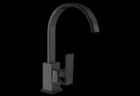 Un mitigeur monotrou de lavabo avec un bec rond noir mat