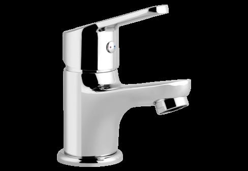Un mitigeur lave-mains eau chaude, eau froide chromé