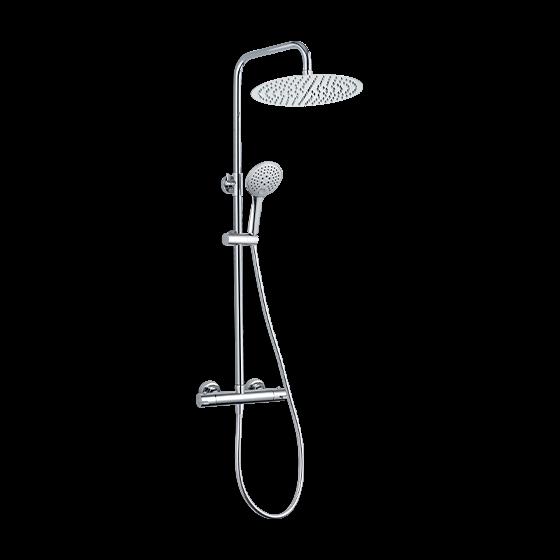 Une colonne de douche thermostatique chromée